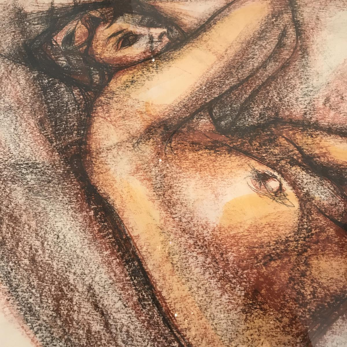 Blood Female Nude Drawing Signed Gerard Calvet