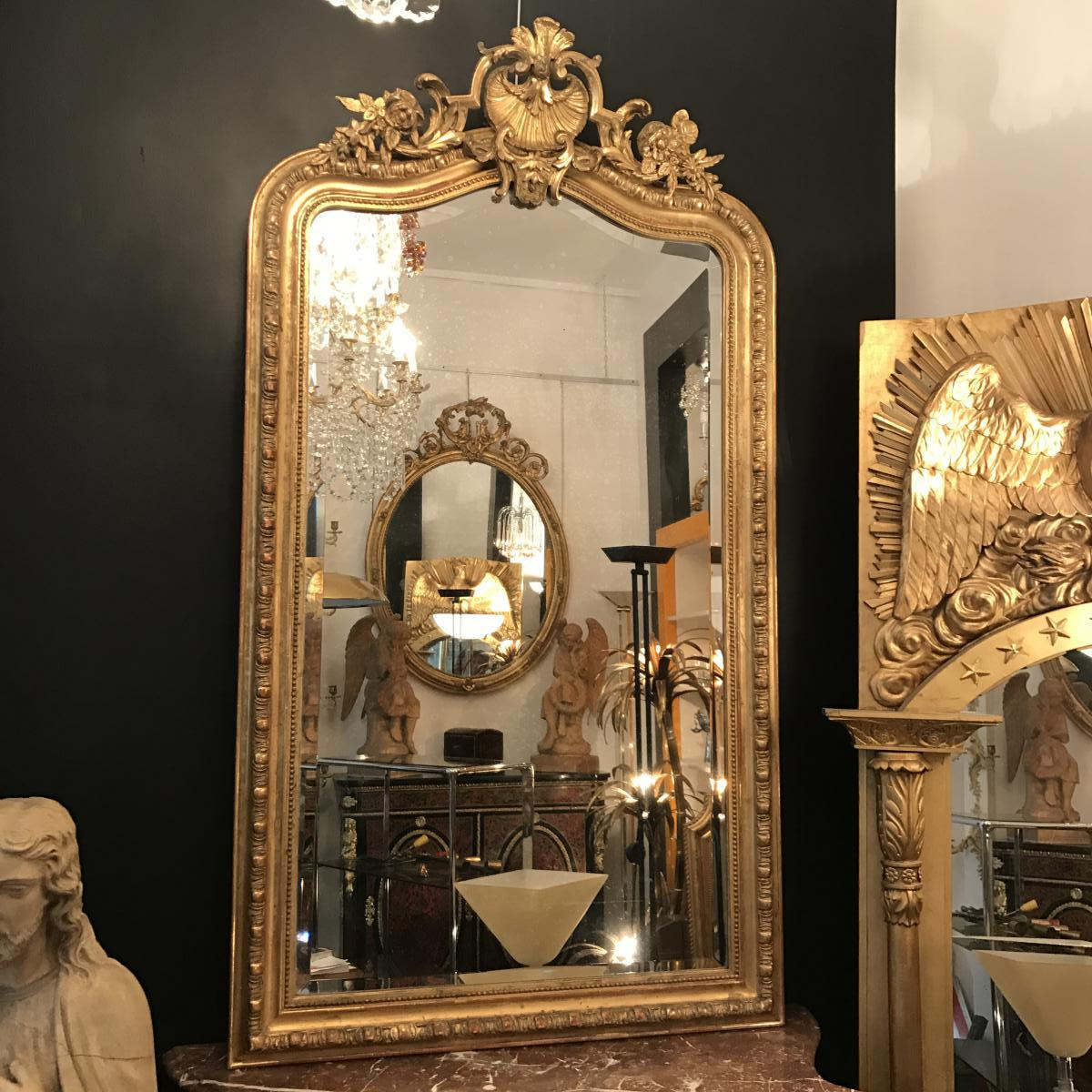 h 163 cm miroir de style louis xv epoque xixeme miroirs de chemin e. Black Bedroom Furniture Sets. Home Design Ideas