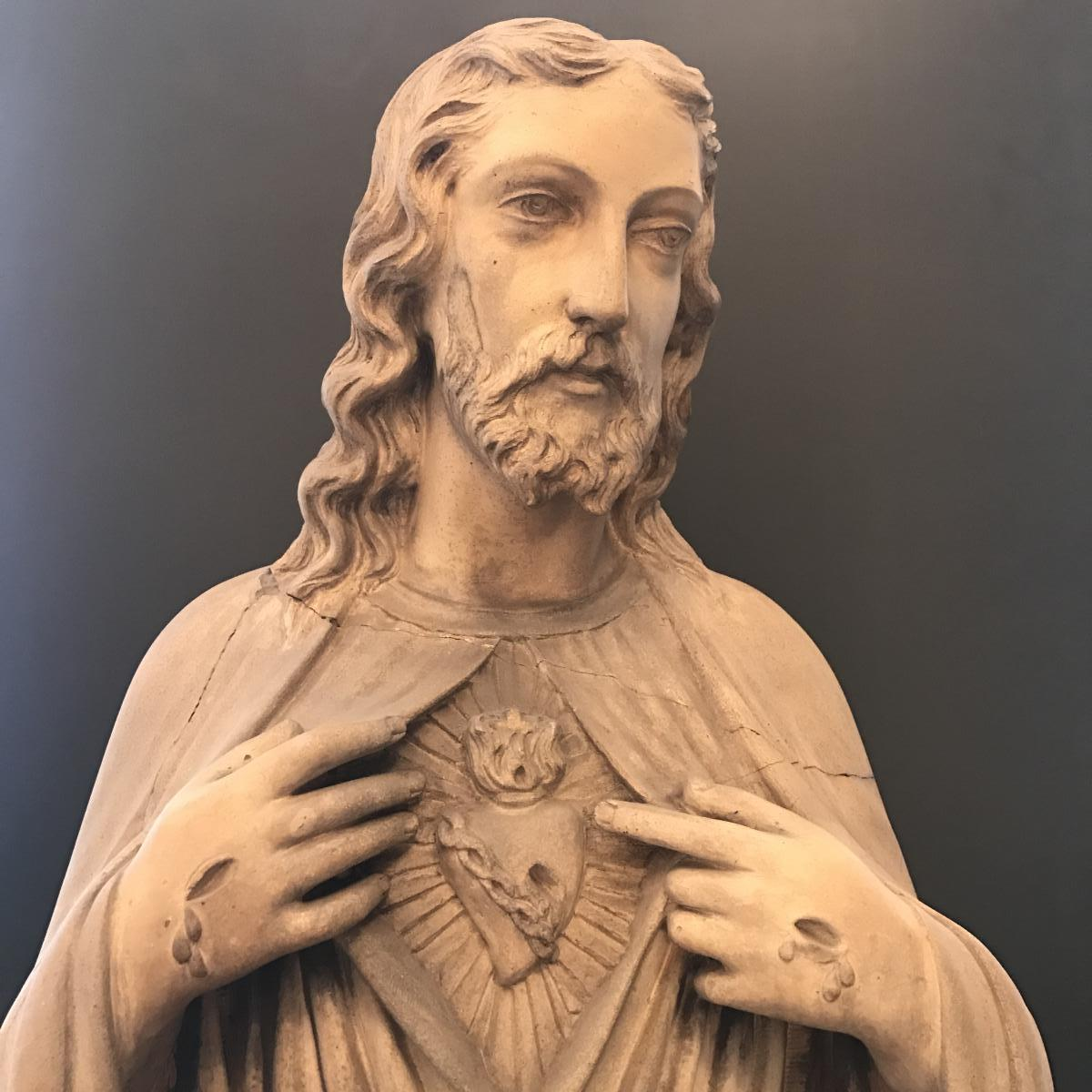 A.brault Large Statue Of Christ In Terracotta H 134 Cm