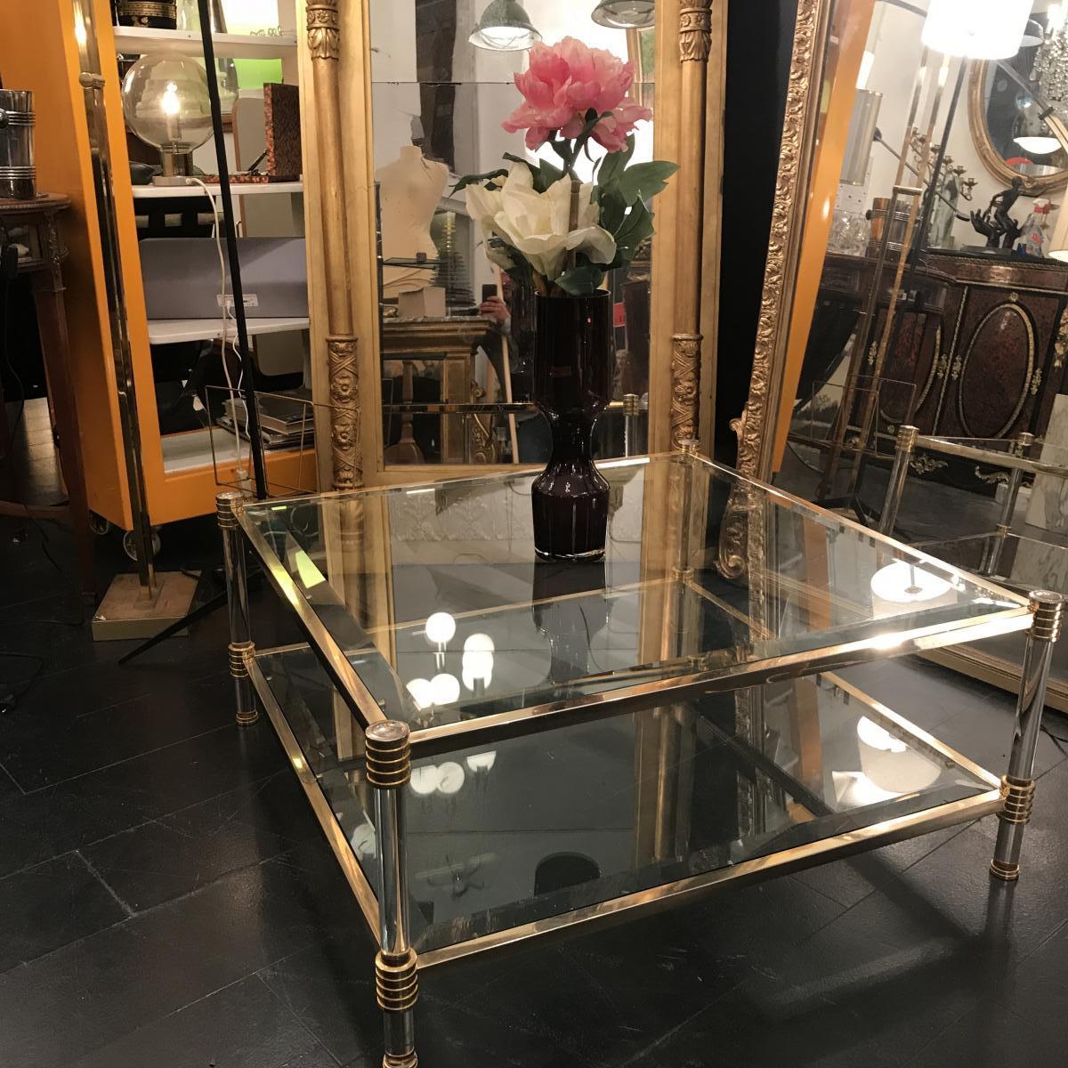 Table Basse à Double Plateaux . Design Du XXeme Siècle.