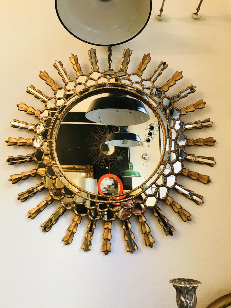 Miroir soleil sorciere en bois dor miroirs for Miroir soleil bois