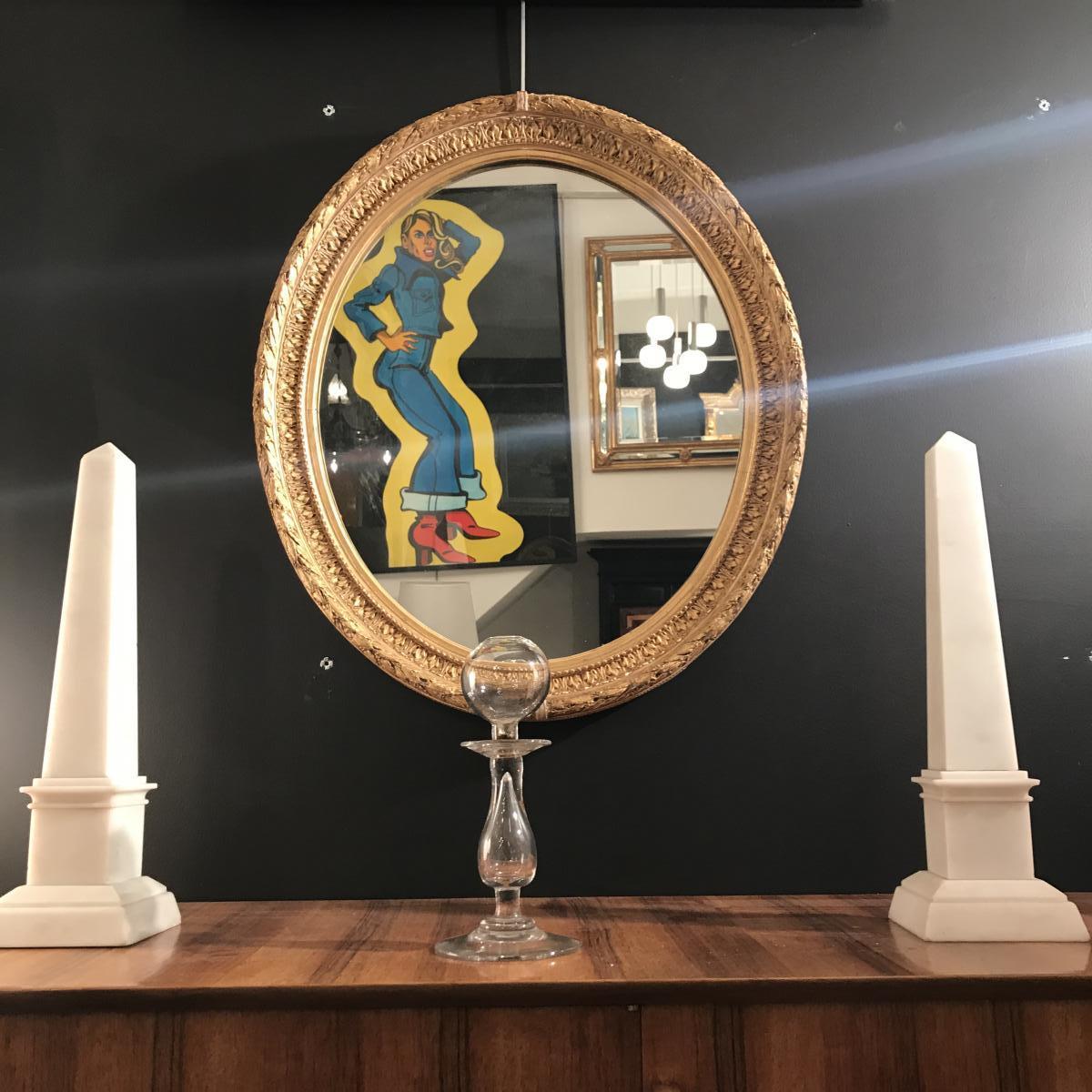 Miroir Doré à Forme Ovale Epoque XIX Eme Siècle