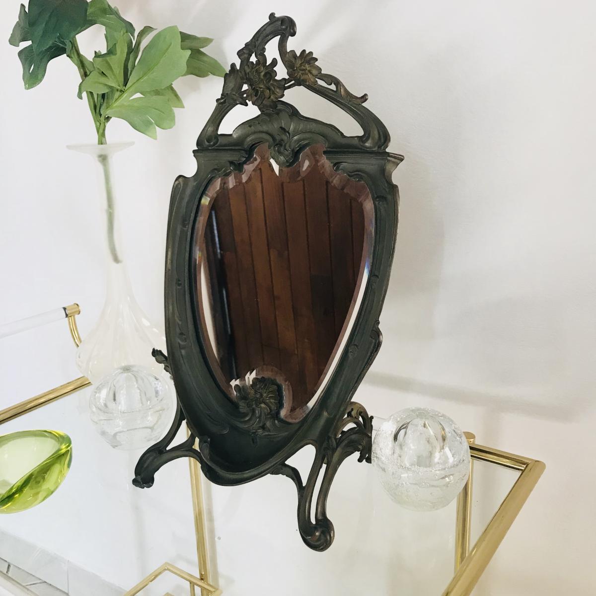 Psyché, Miroir Epoque Art Nouveau .
