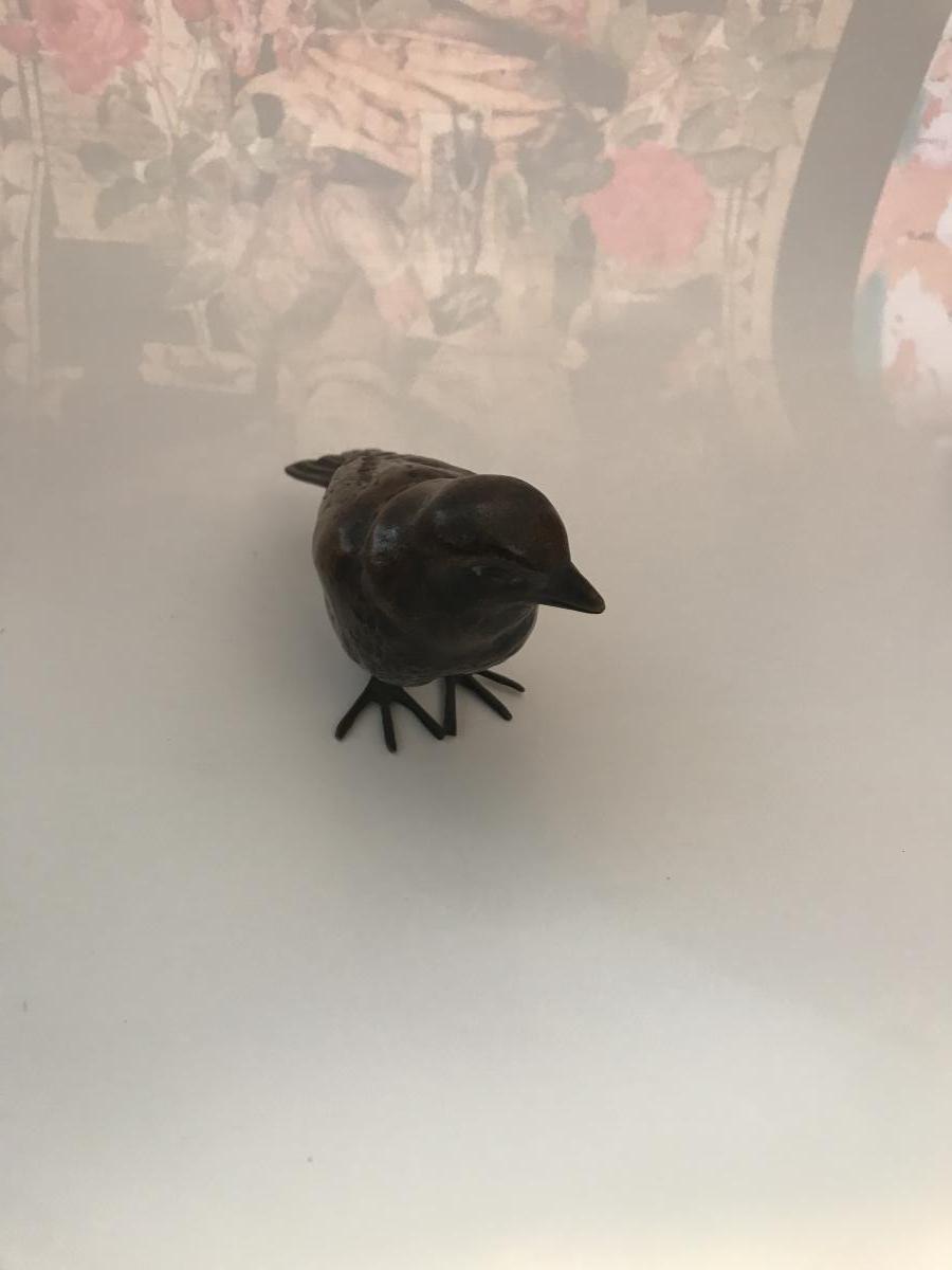 Max Le Verrier. Sujet En Bronze , Sculpture Oiseau , moineau