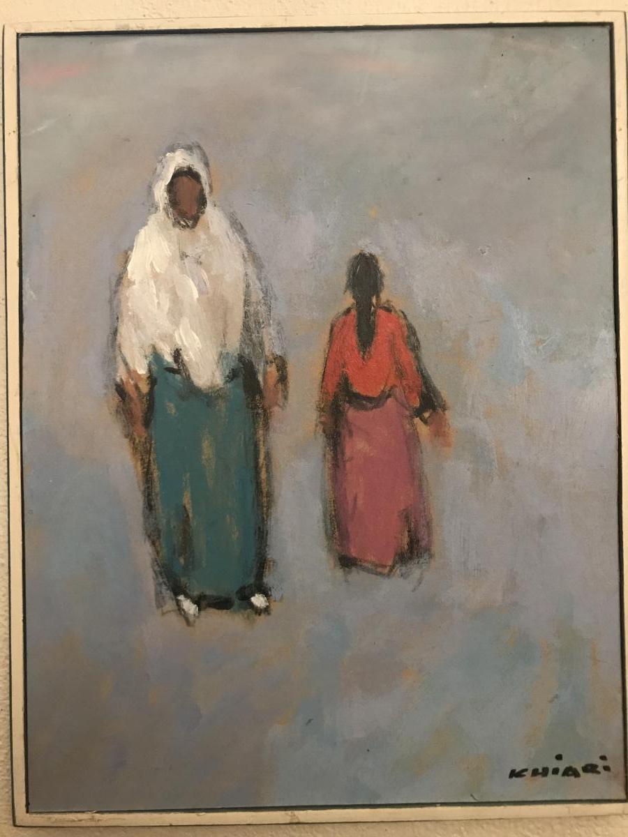 Tableau Orientaliste, Huile Sur Carton Signé  Mohamed Khiari XXeme Siècle.-photo-2