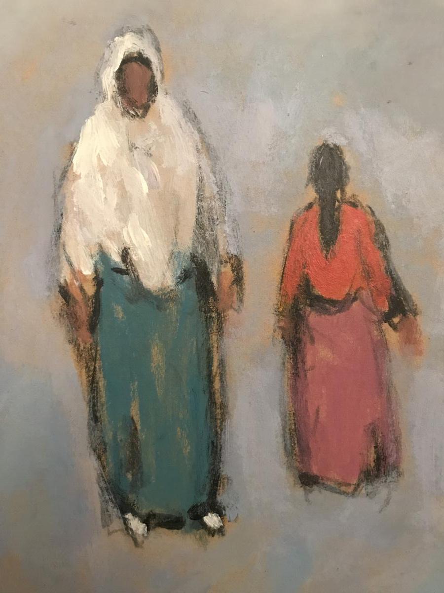 Tableau Orientaliste, Huile Sur Carton Signé  Mohamed Khiari XXeme Siècle.-photo-3
