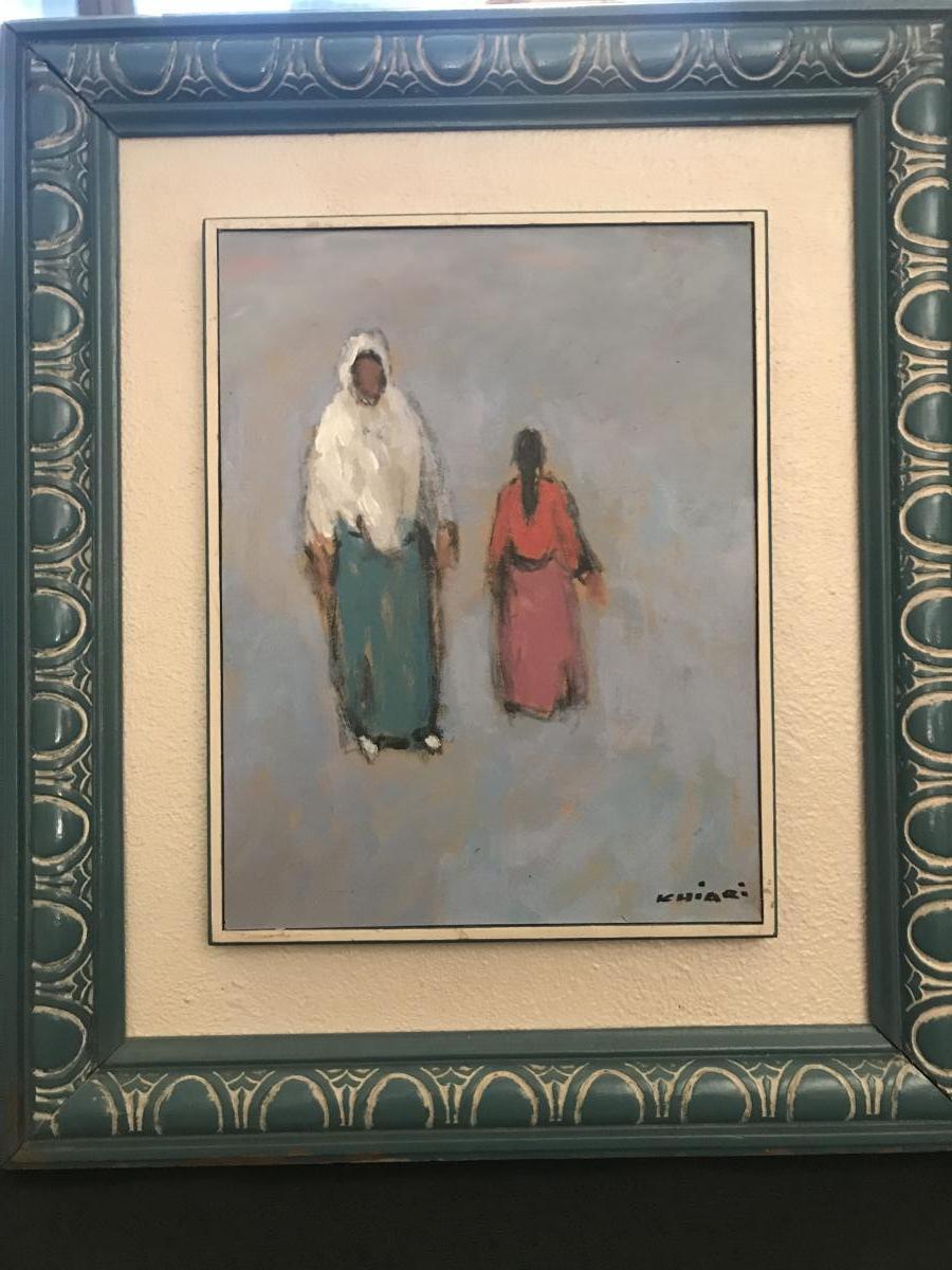 Tableau Orientaliste, Huile Sur Carton Signé  Mohamed Khiari XXeme Siècle.-photo-1