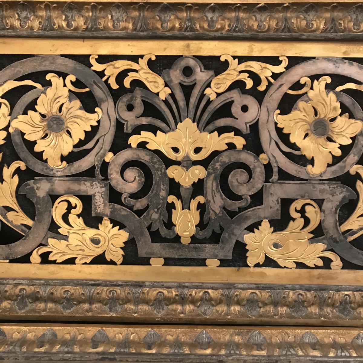 Grille De Cheminee Cache D Aeration En Bronze Dore Et Fer Xixeme Chenets Accessoires De Cheminee
