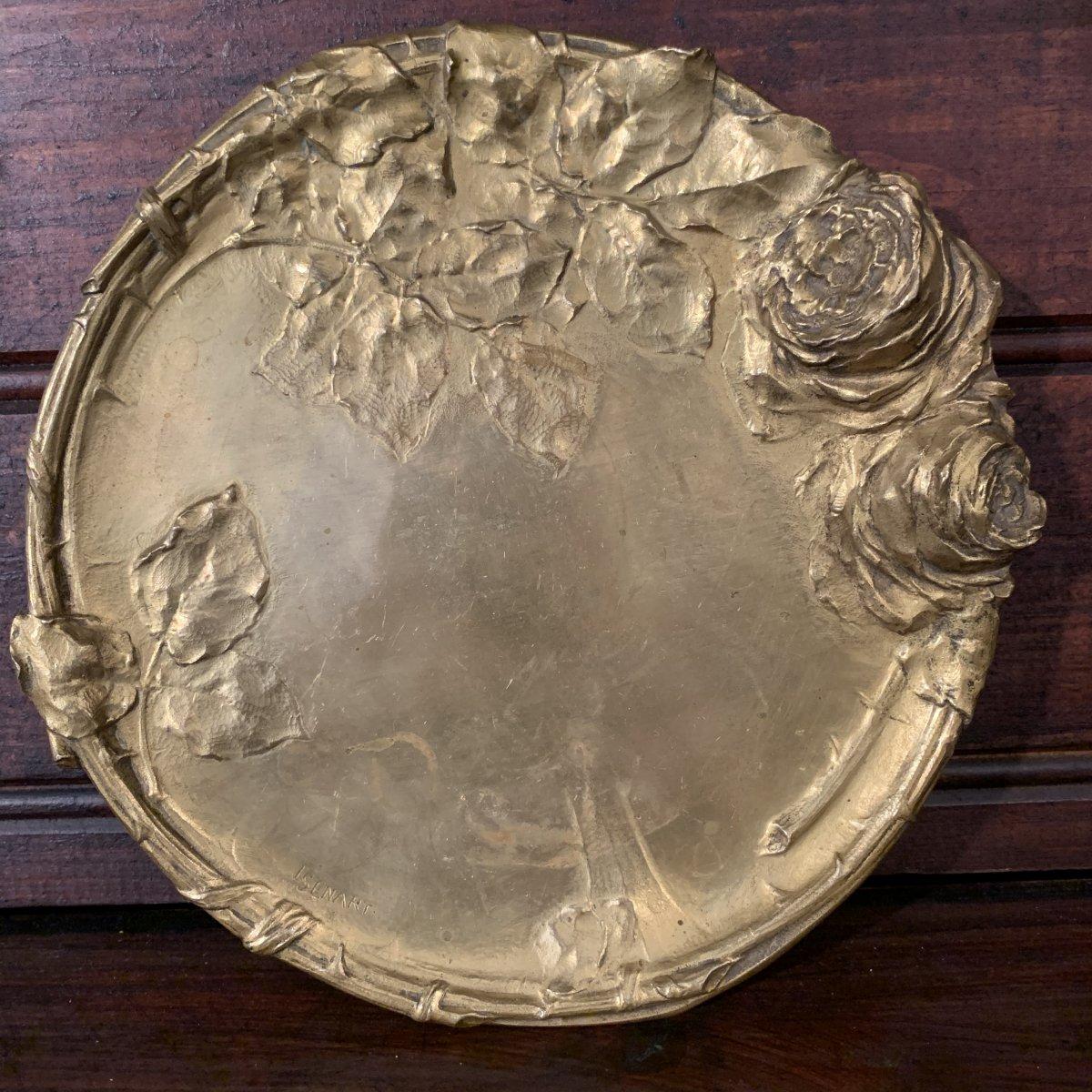 Assiette , vide poche En Bronze Doré Signé Semart Art Nouveau .