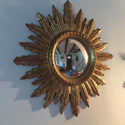 Diametre 50 Miroir Soleil Glace Bombée Bois Doré