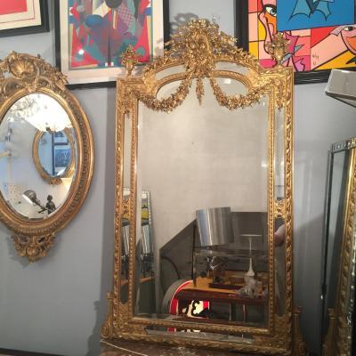 H 155 Cm Miroir Doré De Style Louis XVI A Parclose Epoque XIXeme