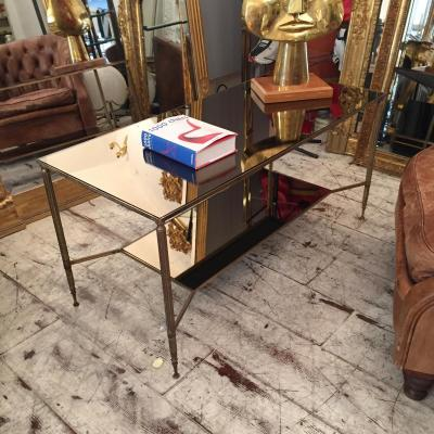 Table Basse à Double Plateau Laiton Et Miroir