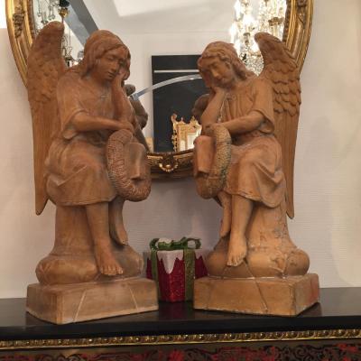 Paire d'Anges En Terre Cuite , Statue