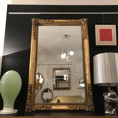 H 170 Miroir Aux Fleurs Glace Au Mercure Dorure à La Feuille