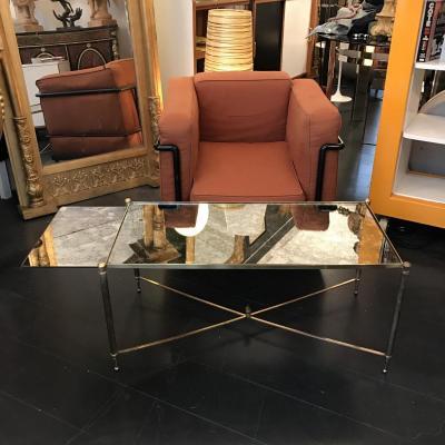 Table Basse à Système Miroir Nuagé , Laiton Doré