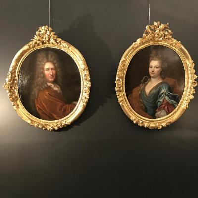 Hyacinthe Rigaud ( Atelier de  ) Paire De Grand Portraits Epoque Régence Tableaux XVIIIeme