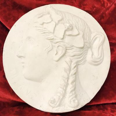 Médaillon En Plâtre , Profil d'Ariane Signé Gondrand XIXeme Siècle