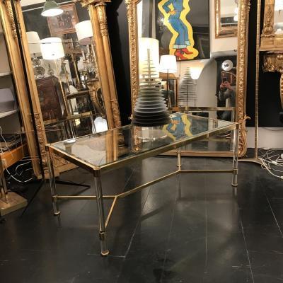 Table Basse De Salon Doré Et Plexiglas. Design Du XXeme Siècle