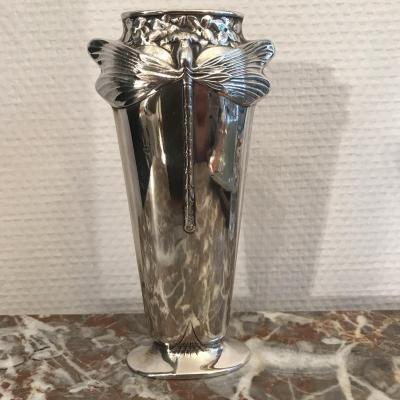 Vase Libellule Art Nouveau Christofle House Xxth Century Silver