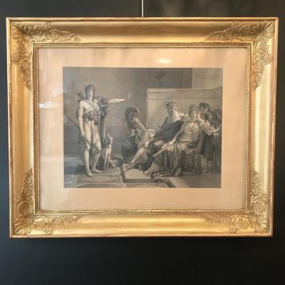 Gravure XIXeme Scène à L'antique Cadre Doré Epoque Restauration .