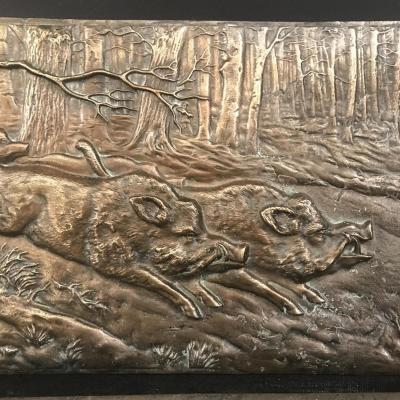 Paire De Plaque En Bronze à Décor De Scène De Chasse XIXeme Siècle .
