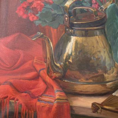 Anna Bono Dugelay Tableau , Huile , Nature Morte Aux Fleurs .