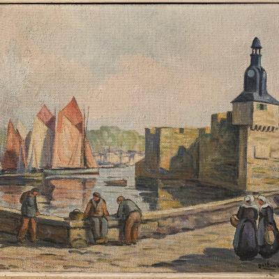 Gaston Aubert, Painting, Painting, The Port Of Concarneau, Brittany