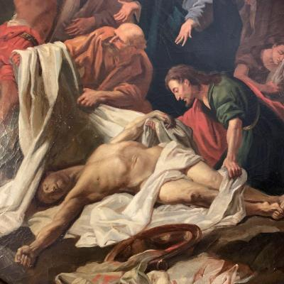 According To Jean Baptiste Jouvenet, Painting, Oil On Canvas The Descent Of Christ XVIII Eme