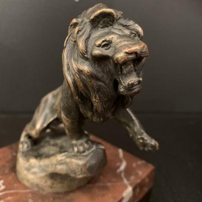 Maurice Roger Marx . Lion Peugeot , Sculpture Bronze .
