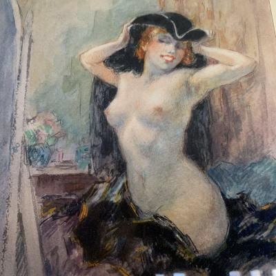 Yves Diey (xix-xx) Watercolor Naked Woman.