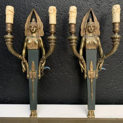 Wall Lights, Pair Of Gilt Bronze Sconces In Empire Style
