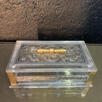 Box, Box With Asian Decor, Plexiglass And Silver.