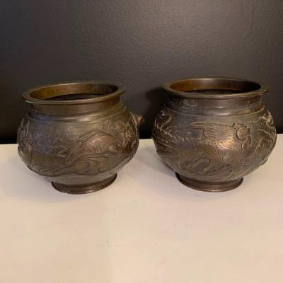 Pair Of Cache Pot, Japan Meiji Period.