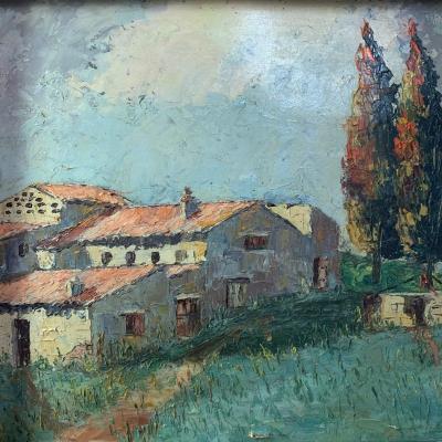Jean Corniche . Moulin à Huile En Provence Tableau De 1943