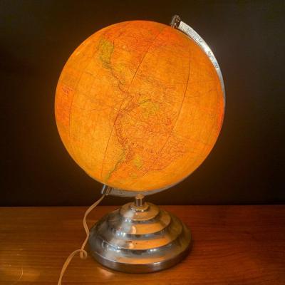 Ancien Globe Terrestre Lumineux Perrina époque Art Deco