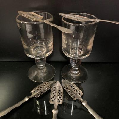 Absinthe, Set Of Five Spoons And Two Glasses