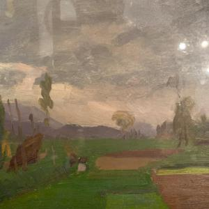 Jacques Peretto, Landscape Of Dauphiné, Oil On Cardboard.
