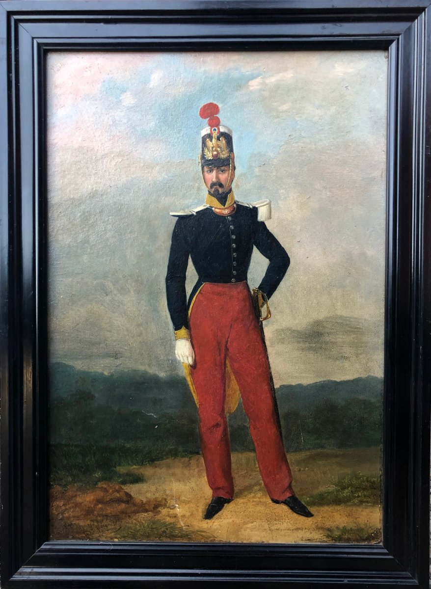 Officer Of The Voltigeur Of The Imperial Guard, Oil On Wood,