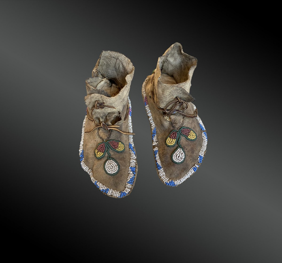 Pair Of Cree Indian Children Moccasins, North America