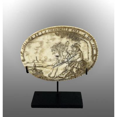 Plaque Médaillon Pour Boite à Tabac, XVIIème, Ivoire