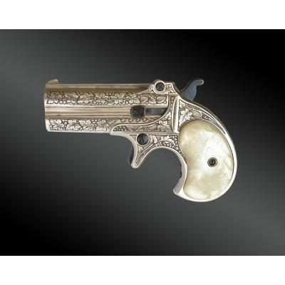Derringer Remington Over Under Pistol, Engraved, Silver Plated