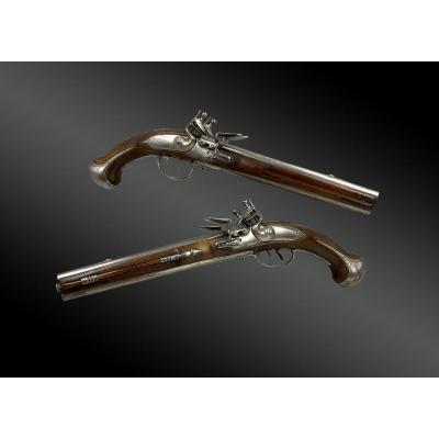 Large Pair Of Flintlock Pistols, XVIIIth Double Superimposed Barrels, By  Gaillarn