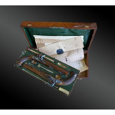 Necessary Box Containing A Pair Of Flintlock Pistols Signed F. Ulrich In Bern Switzerland
