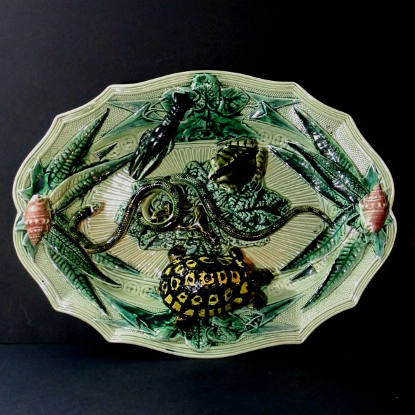 Large Dish In Barbotine Art Nouveau