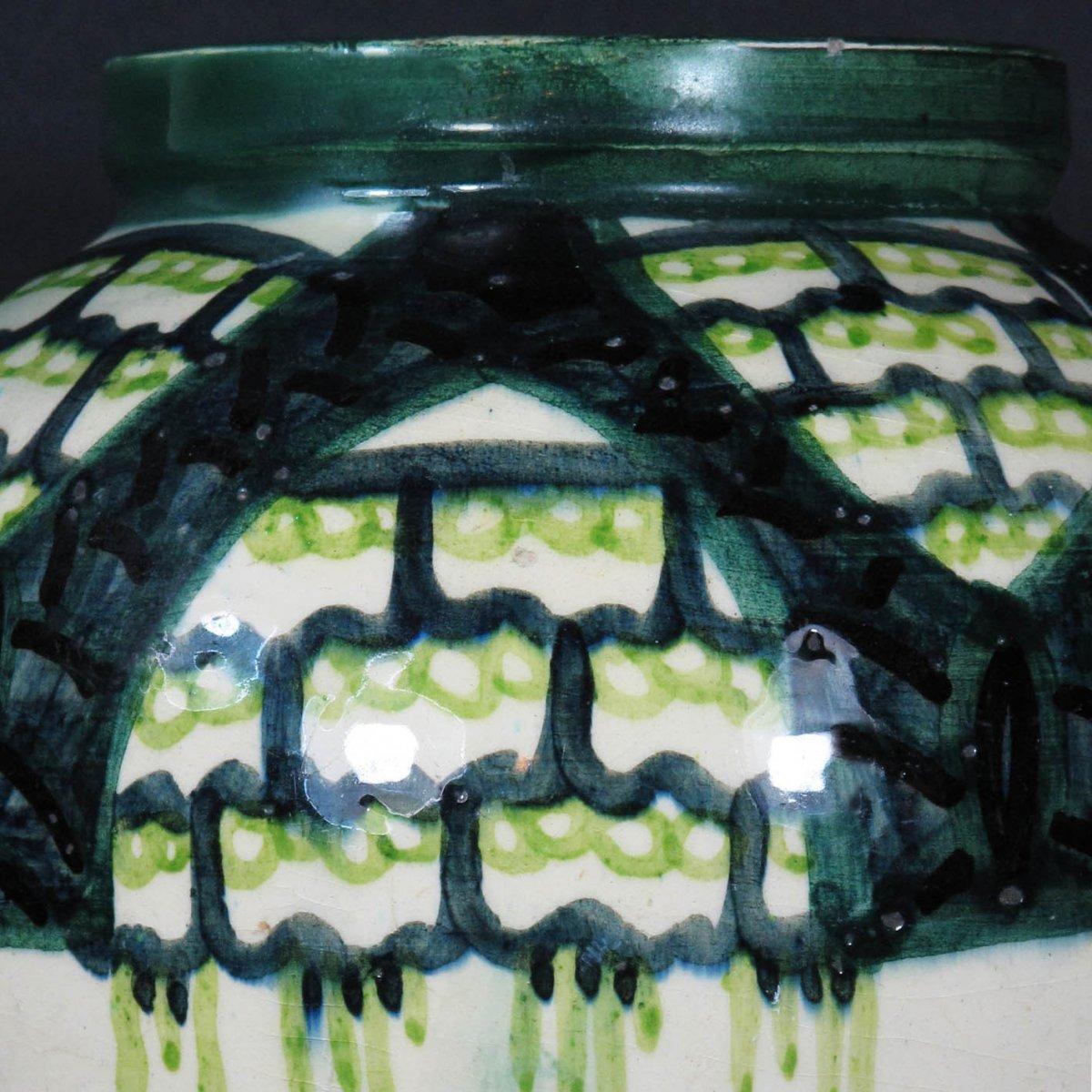 Art Deco Earthenware Vase By Raoul Lachenal, Unique Piece-photo-4