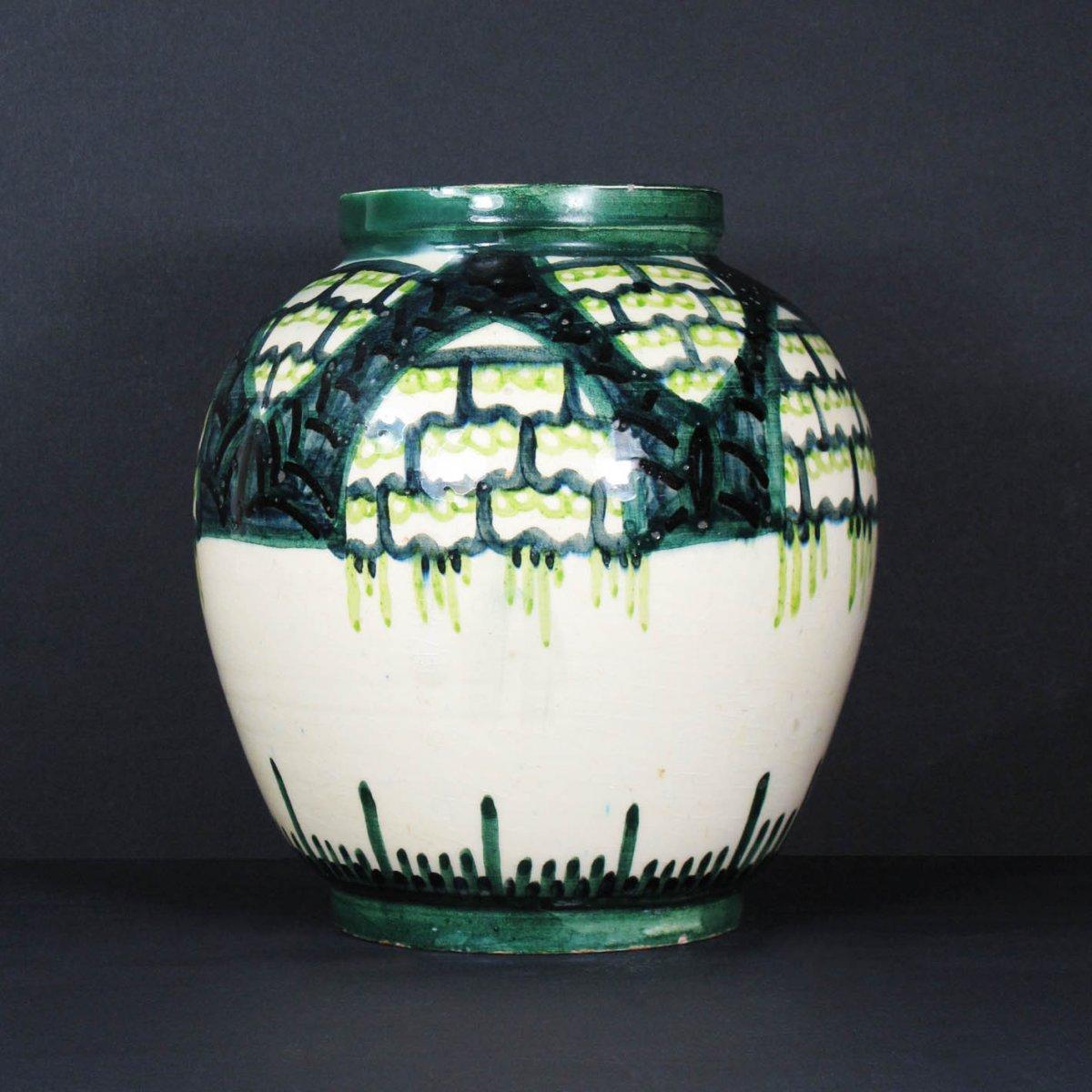 Art Deco Earthenware Vase By Raoul Lachenal, Unique Piece