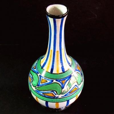 Vase Art déco en faïence de Desvres signé Henri Delcourt