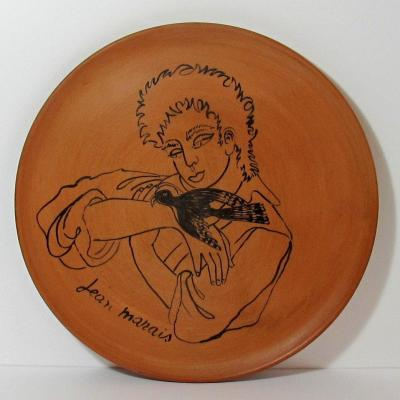 "French Ceramic Dish ""the Young Man And The Bird"" By Jean Marais"