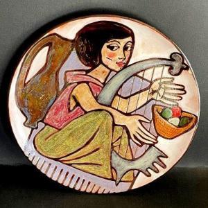 Grand plat en céramique Jacques Poussine Sant Vicens années 50