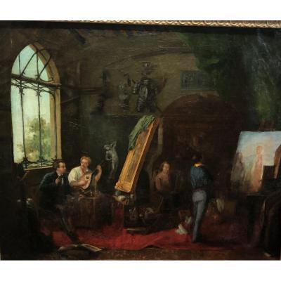 Scène D'intérieur Allégorie De L'art.